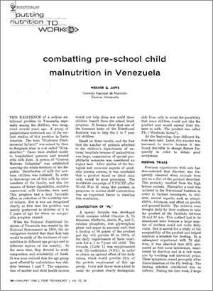 Combatting pre-school child malnutrition in Venezuela