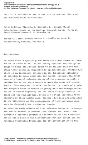 Effects of Selenium Intake in Man at High Dietary Levels of Seleniferous Areas of Venezuela