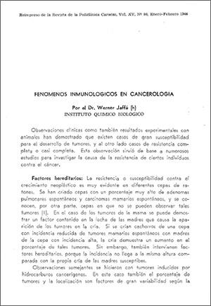 Fenómenos inmunológicos en cancerología