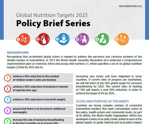 Lineamientos de la OMS sobre los objetivos de nutrición para el 2025