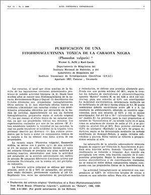Purificación de una Fitohemaglutinina toxica de la caraota negra (Phaeeolus vulgaris)