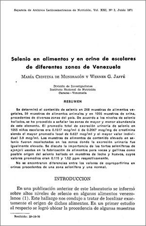 Selenio en alimentos y en orina de escolares de diferentes zonas de Venezuela