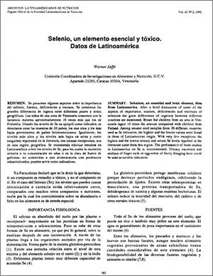 Selenio, un Elemento Esencial y Tóxico. Datos de Latinoamérica
