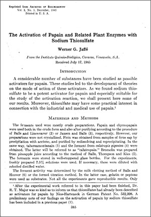 The Activation of Papain and Related Ensymes with Sodium Thiosulfate