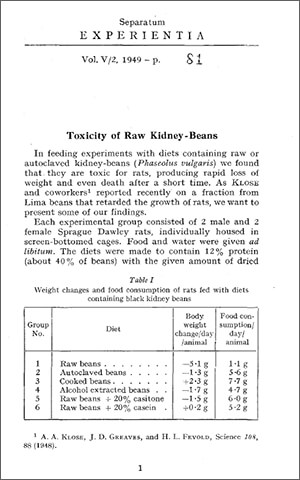 Toxicity of Raw Kidney-Beans