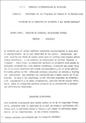 VII. Congreso Latinoamericano de Nutrición. Simposio: Resultados de los Programas de Combate en la Nutrición. Actuación de la Industria de Alimentos y del Sector Agrícola